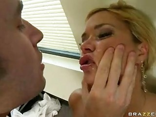 Blonde pornstar with big melons in black belt sucks hard rod