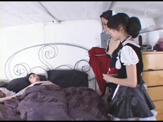 2 young dark brown maids have to cater to their mistress and lick her feet
