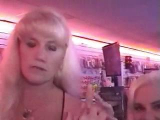 Two mature blonde grannies Kandi and Victoria talked into sucking cock through the gloryhole