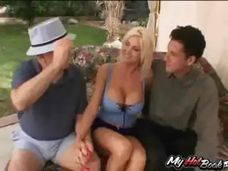 Blond MILF, Lori Enjoyment gets drilled by one dude during the time that two others watch