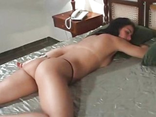 Dark haired Latin gal acquires both holes drilled