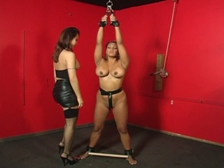 Bondage harlots in heat with a huge vibrator