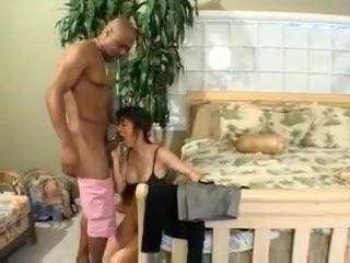 Dark guy fucks the wet Oriental pussy from behind