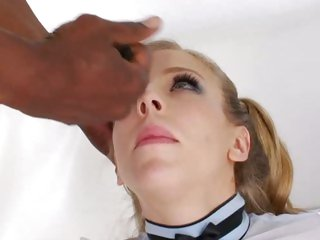 Sensual Chastity Lynne gets her face plastered with cum
