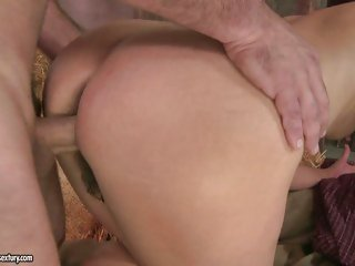 Ria's thick round ass receives bent over as she's penetrated from behind