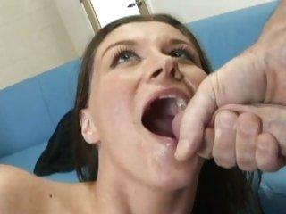 Tantalizing Sara Stone gets a throat full off warm spunk