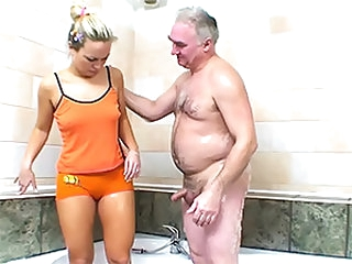 Hot Blonde Sucks and Fucks an Older Man's Small Cock