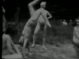 Lesbo Honeys Get Fucked in a Three-some - Black and White Classic Porn Vid