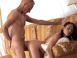 Cute Brunette Teen Gets Fucked and Facialized By an Old Fart
