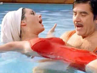 Beautiful Brunette Babe Edwige Fenech Wearing Tight Red Swimming Suit
