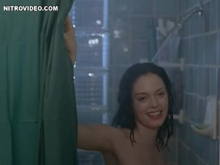Brunette hair Rose McGowan Invites a Chap To Shower with Her