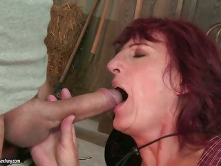 The sexy chap didn't mind that he was mouth fucking grandma Ria