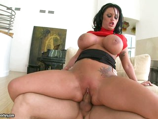 Large titted Kerry Louise bounces her twat on a huge dick