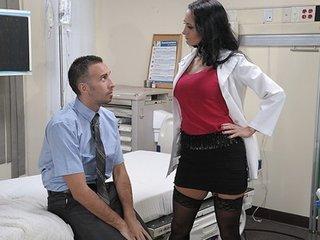 Big-tit brunette slut doctor Ava Addams rides patient's 10-Pounder anal