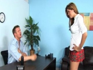 horny Hot brunette legal age teenager riding the school dean