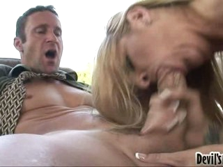 Robbye Bentley gives the lucky fellow a wild messy blow on the cock