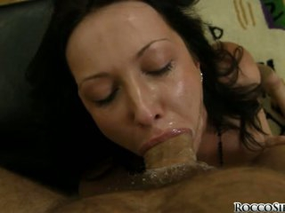Hard cocked Rocco Siffredi forces his manhood on a lucky strumpets simmering mouth