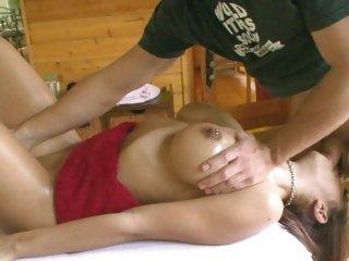 Breasty slut Mulani Rivera sucks on a hard prick