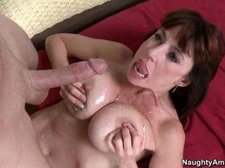 Karen Kougar filled with cum on her breasty boobs