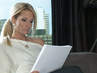 Blonde MILF Jessica Drake is a writer that would like to fulfill her sex fantasies. Her dreams are about having sex with attractive elegant guy from the past. That babe would share her daybed with that man.