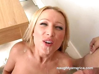 Nasty Sue Diamond sucks a huge jock and gets facialised