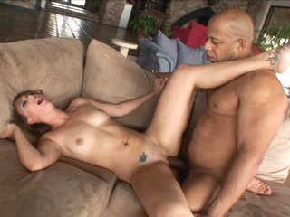 Tight lover Mia Grey gets her tiny muff smashed by a monstrous dark weenie