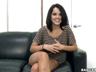 Black haired newbie Dillon Harper is ready to do her first porn. She gets interviewed before she gets naked to show nice sexy tan lines on her juicy ass and titties.