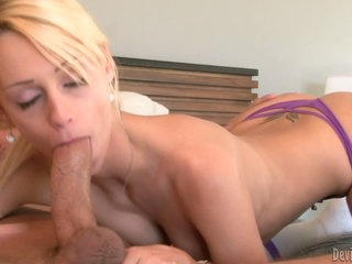 Blonde haired slutty chick Erica Fontes in tiny panties is cock hungry. She gives head to her father's handsome friend. He finds his stiff dick in her hot mouth. She sucks his pole passionately!
