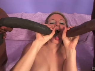 Brave blonde jade lashey takes on two monster cocks