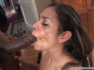 Sexy assed latina Estella Leon has a good time with black guy. She gets mouth fucked before he uses his black meat stick to drill her neat dripping latina pussy in many sexy positions.
