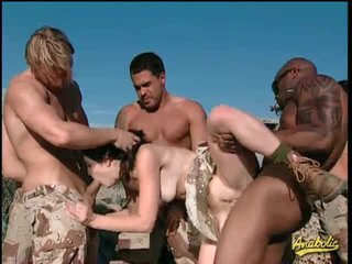 Military men gangbang Kristina Black in the desert