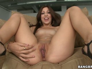 Alexa Rydell is naughty latina chick that exposes her hairless fuckable pussy eagerly before doing it with hot guy. He explores her apple ass and neat pussy before fucking.