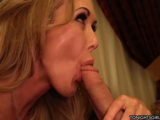 Brandi Love is a milfy porn star with big tits that does her best to make horny man happy. Brandi Love in sexy lingerie takes his prick in her hot mouth.