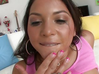 Horny Adriana Luna is showered in tasty dick cream