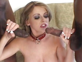 Sophie Dee gets hammered by two horny black poles