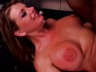Saucy Vicky Vette gets splattered in hot jizz