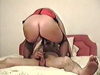 Mature fat woman enjoys big cock.