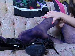 Jen showing her nylon feet