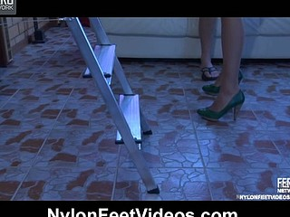 Nora&Connor nasty nylon feet movie scene