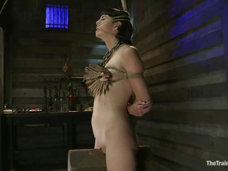 too much clothespins for her small tits...