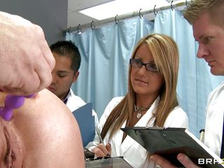 doctor inserts sexual toys into a woman and receiving blowjob