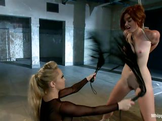 cutie whipped and punished by blonde milf