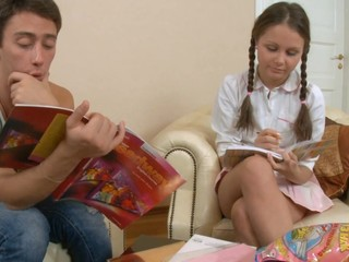 After school story time turns into fuck time with two teens