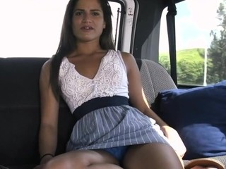 Little pleasing hotie in motor car with this dude ready to have filthy fun time