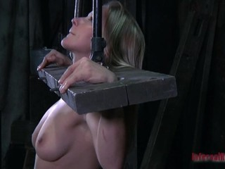 Blonde sagged tittied slut is smiling while is punished cruelly