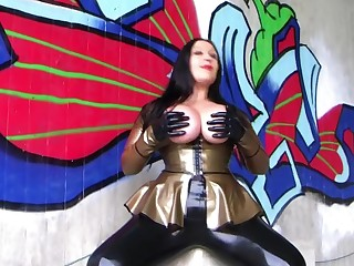 The Auriferous Blowjob Officer - Dirty Outdoor Blowjob Handjob with Latex Gloves - Cum on my Tits