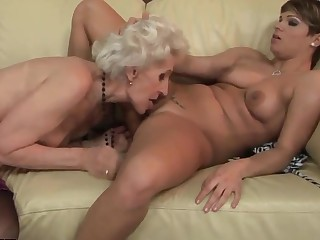 Young and old lesbo hotties are trample ergo well