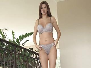 Sabrina angelic brunette babe flashing tits and pussy