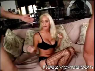 Busty blond MILF gets two cocks to suck and receive drilled by