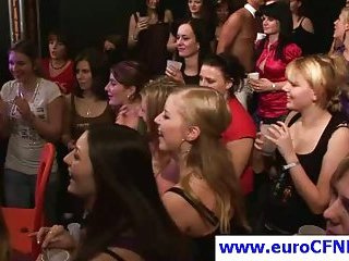 Euro slut gives blowjob in this hot CFNM party